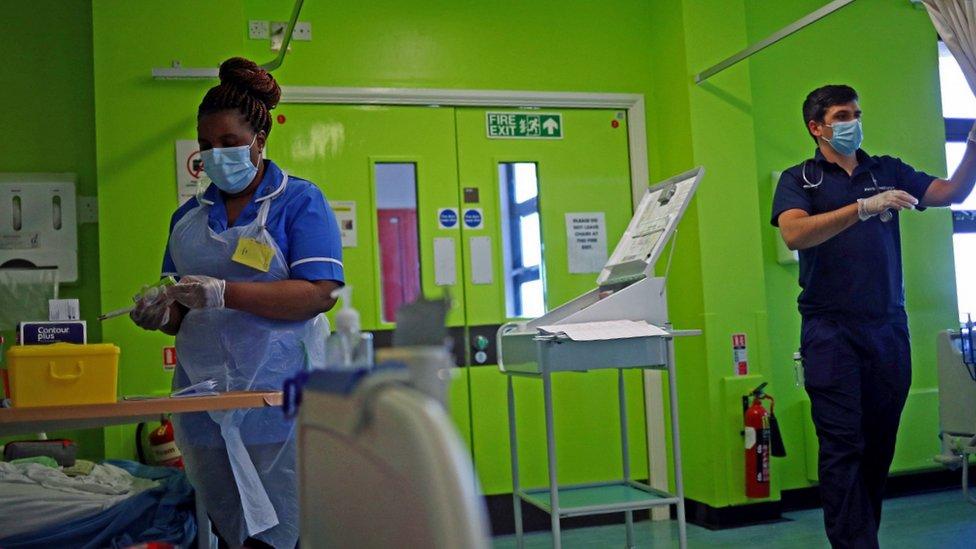 NHS staff in ward