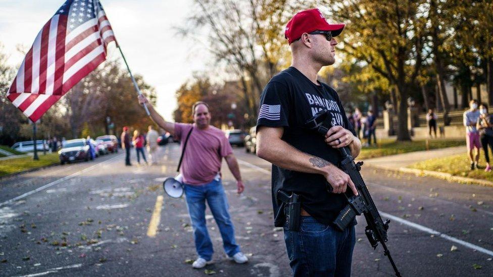 A Trump follower in Minnesota on 7 November