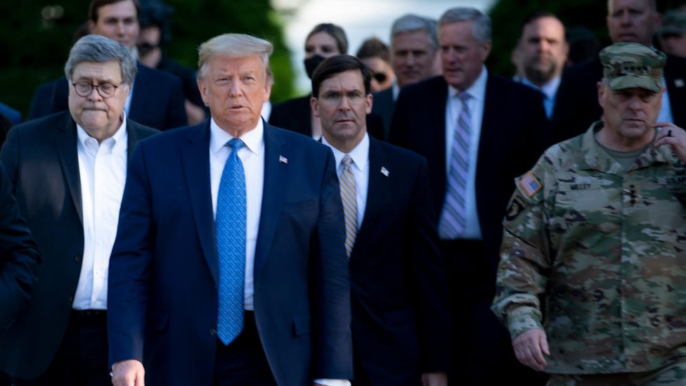 Trump with Mark Milley, chairman of the Joint Chiefs of Staff