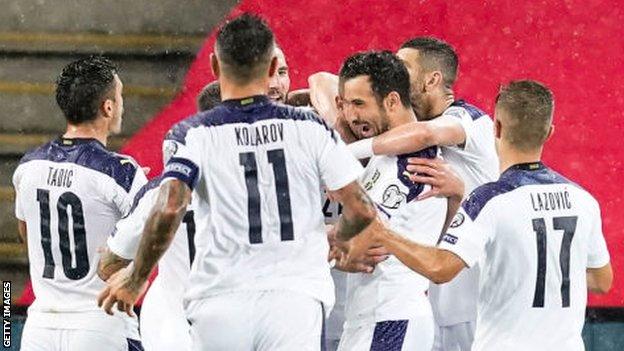 Serbia players celebrate
