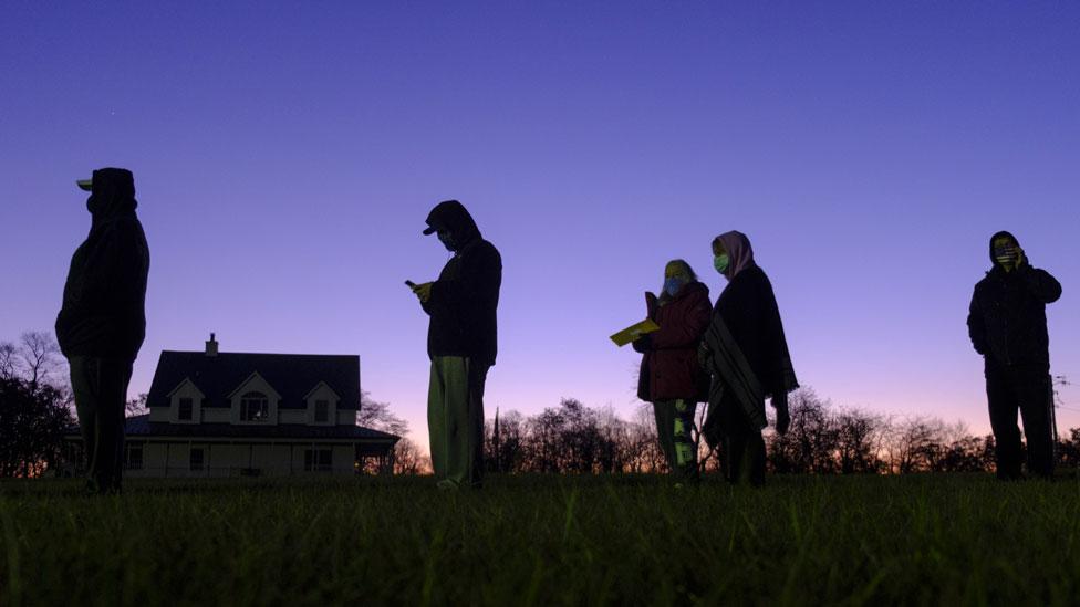 Voters queue in Indiana