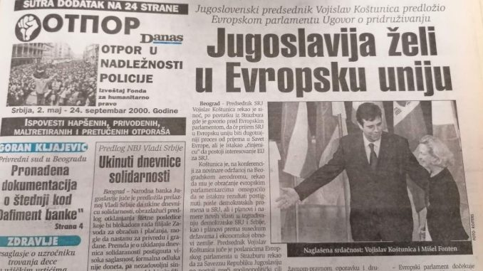 Koštunica se nadao da će SR Jugoslavija ući u EU 3
