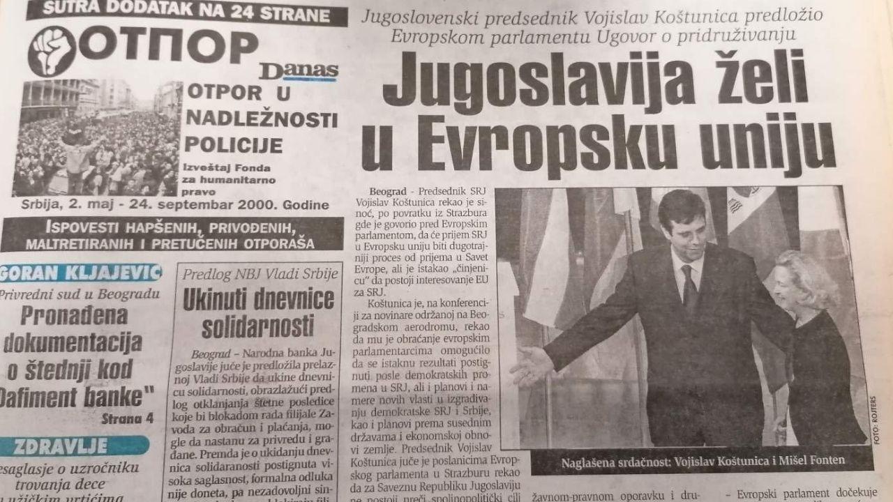 Koštunica se nadao da će SR Jugoslavija ući u EU 1
