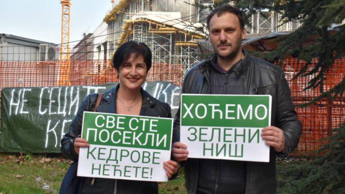 Protest u Nišu zbog gradske odluke o seči drveća na ulazu u firmu Miroslava Miškovića 1