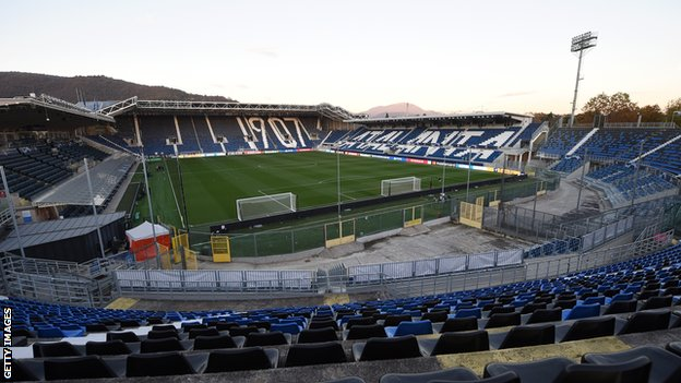 General view inside the stadium ahead of the UEFA Champions League Group D stage match between Atalanta BC and Ajax Amsterdam at Gewiss Stadium on October 27, 2020 in Bergamo