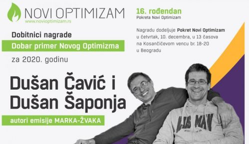 """Nagrada """"Dobar primer Novog Optimizma"""" autorima emisije """"Marka Žvaka"""" 10"""