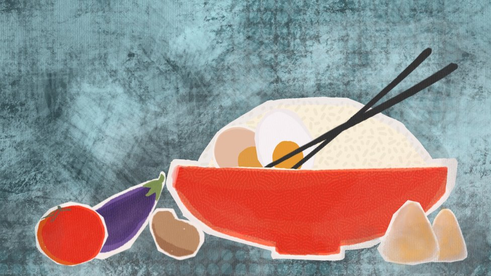 Abstract illustration of bowl of rice with eggs and chopsticks, with some vegetables and snacks around the bowl