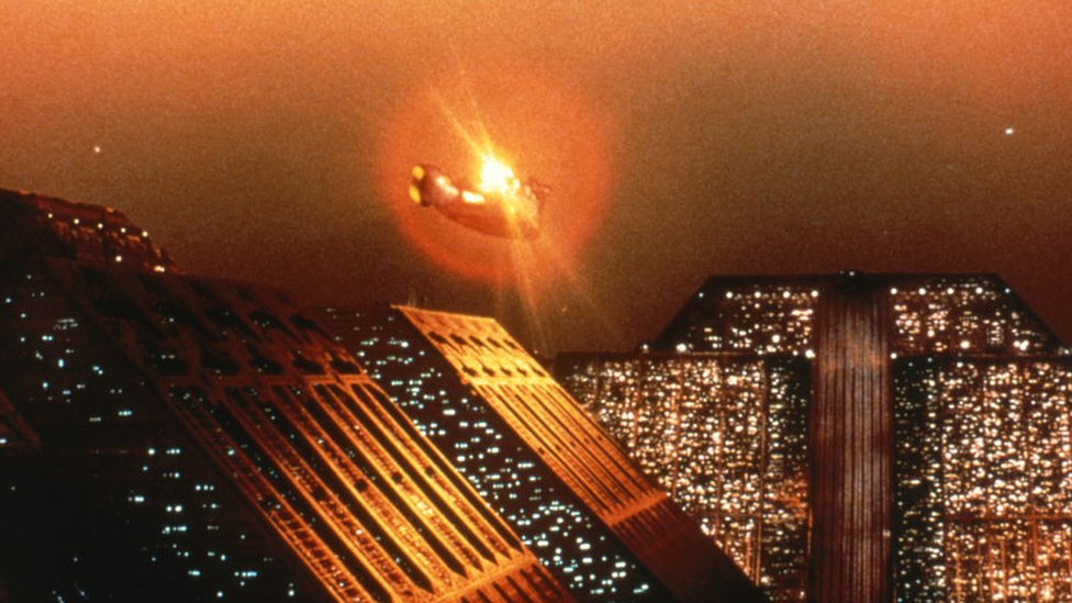 Scene from Blade Runner (1982) showing a flying car