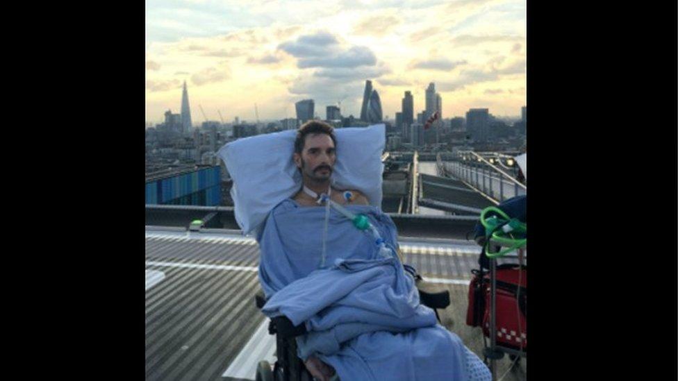 Scott on the helipad at a London hospital