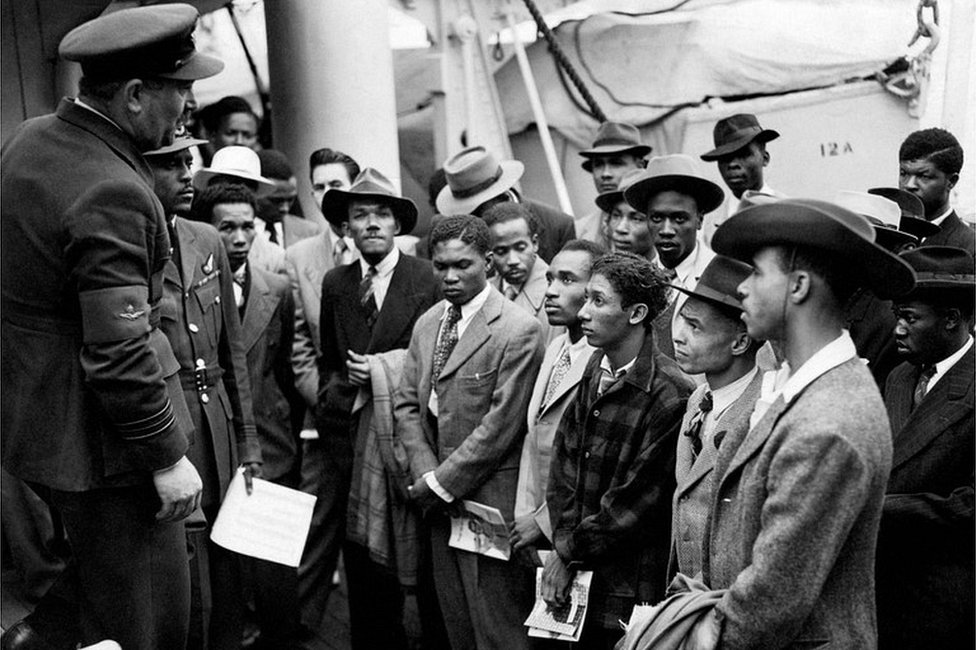 Jamaican (West Indian) immigrants welcomed by RAF officials from the Colonial Office - Johnny Smythe is second from right