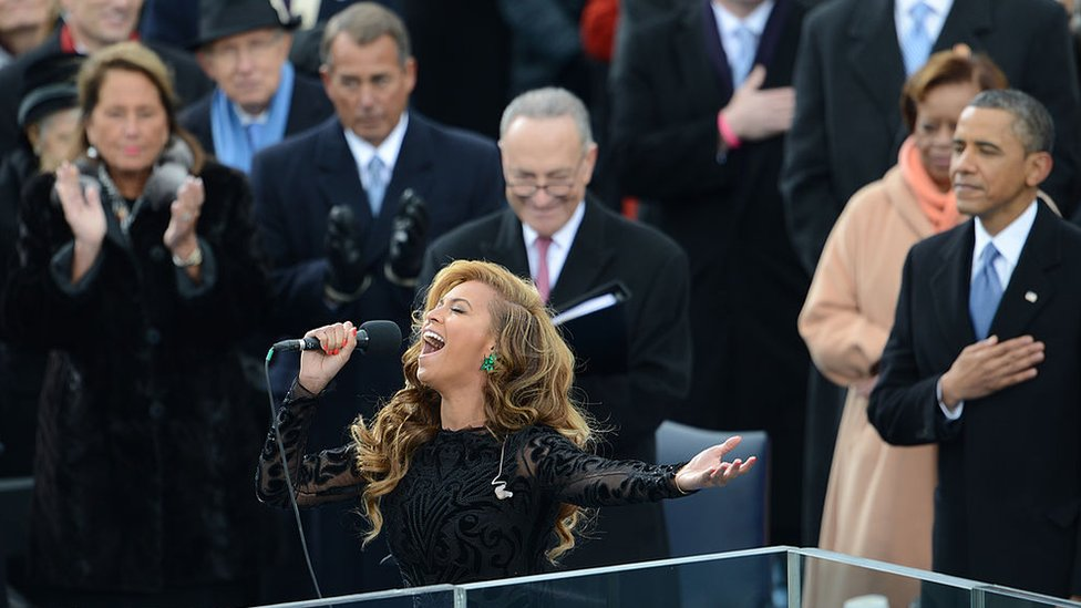 Beyonce sings the national anthem at Barack Obama's 2013 inauguration