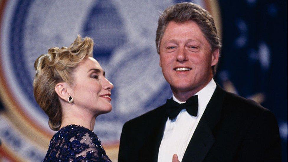 Bill and Hillary Clinton at an inaugural ball