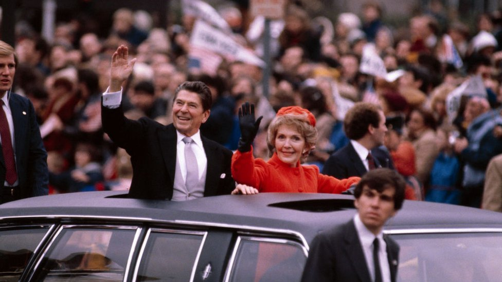 Ronald and Nancy Reagan on inauguration day