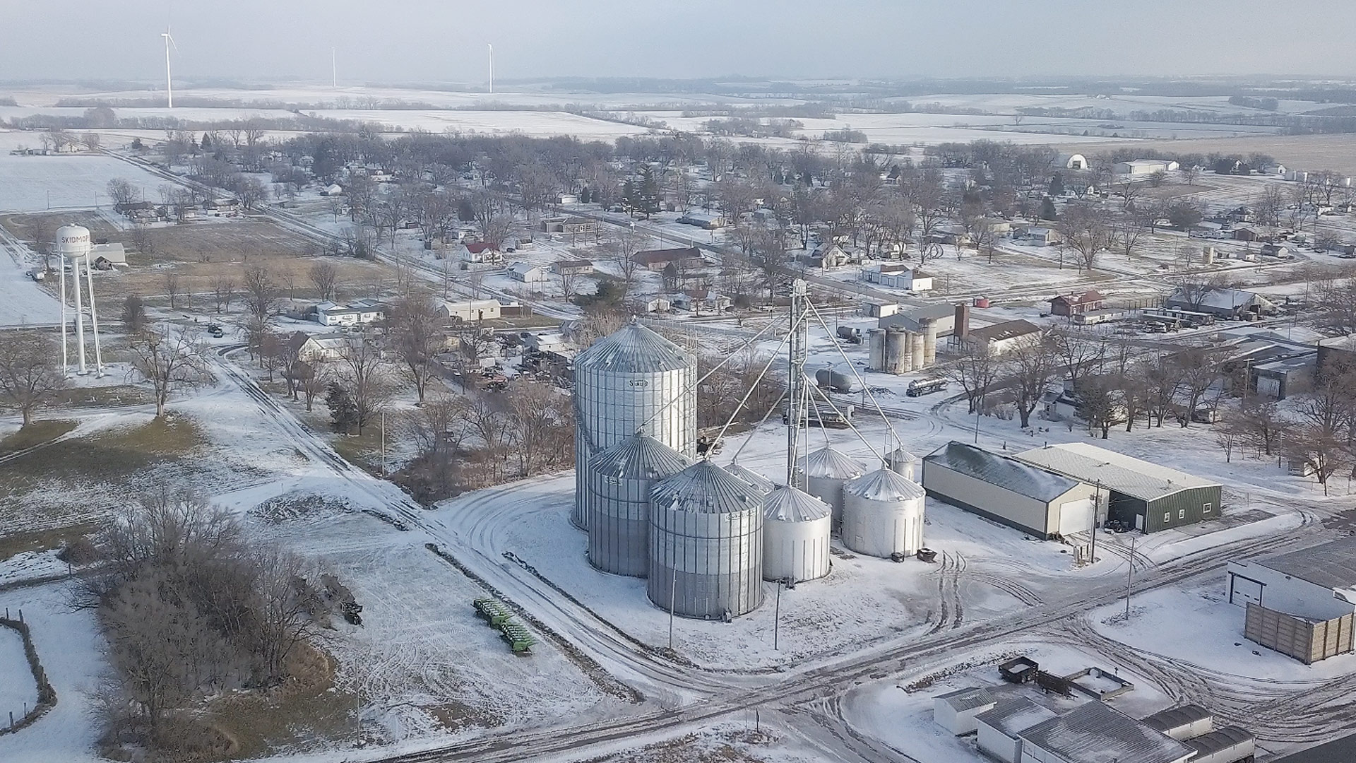 Aerial view of Skidmore, January 2021