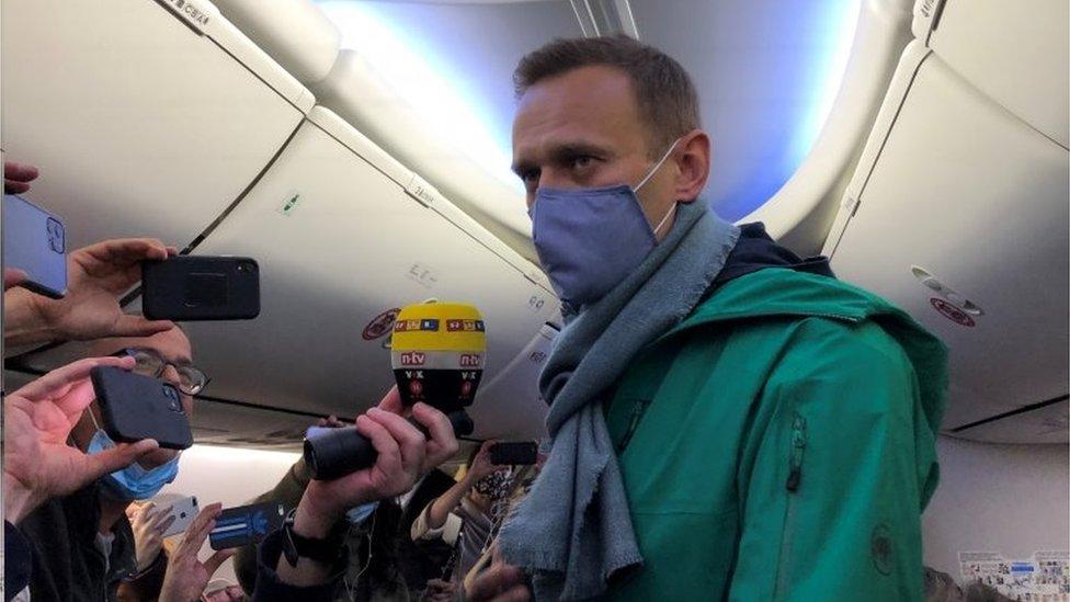 Alexei Navalny on board a passenger plane in Berlin, Germany. Photo: 17 January 2021