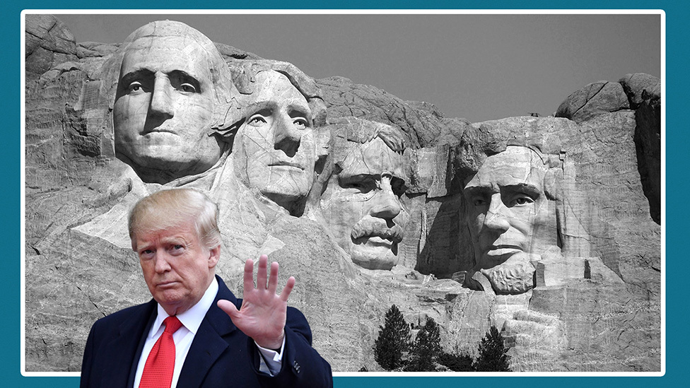 Donald Trump in front of Mount Rushmore