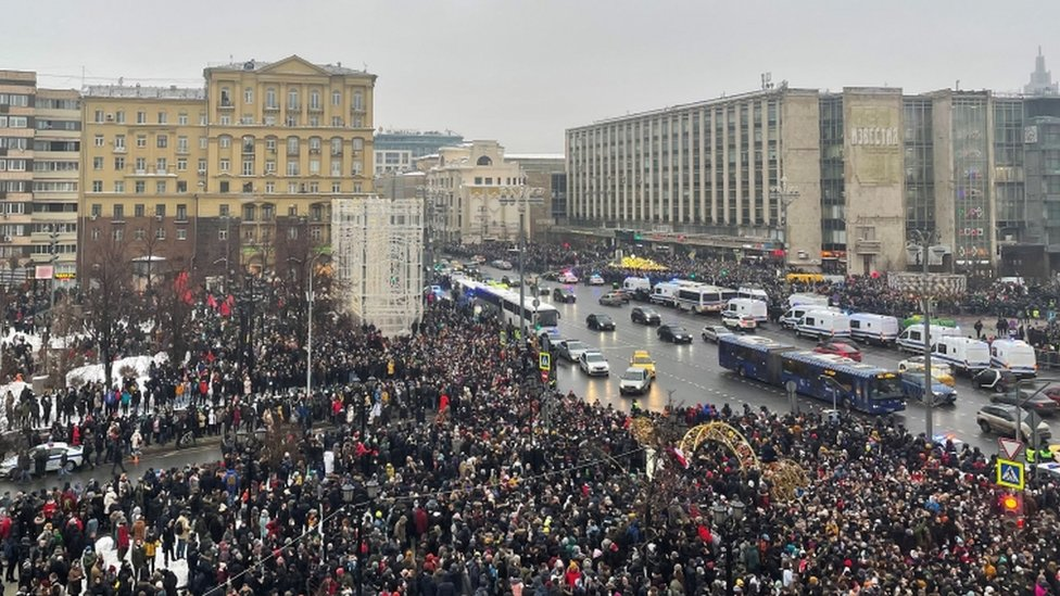 People attend a rally in support of jailed Russian opposition leader Alexei Navalny in Moscow, Russia