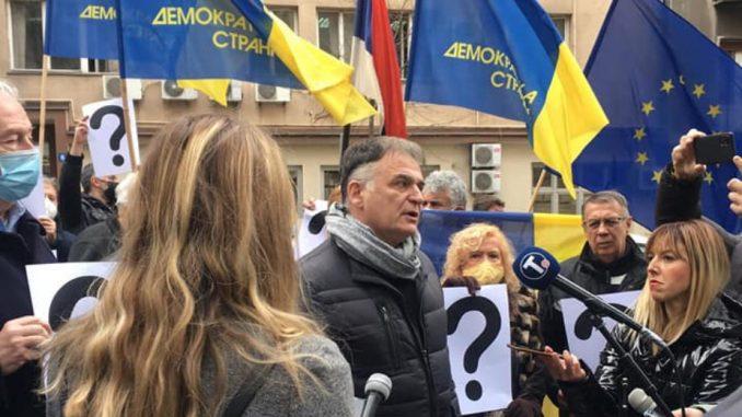 Protest demokrata ispred Ministarstva državne uprave i lokalne samouprave (FOTO/VIDEO) 3