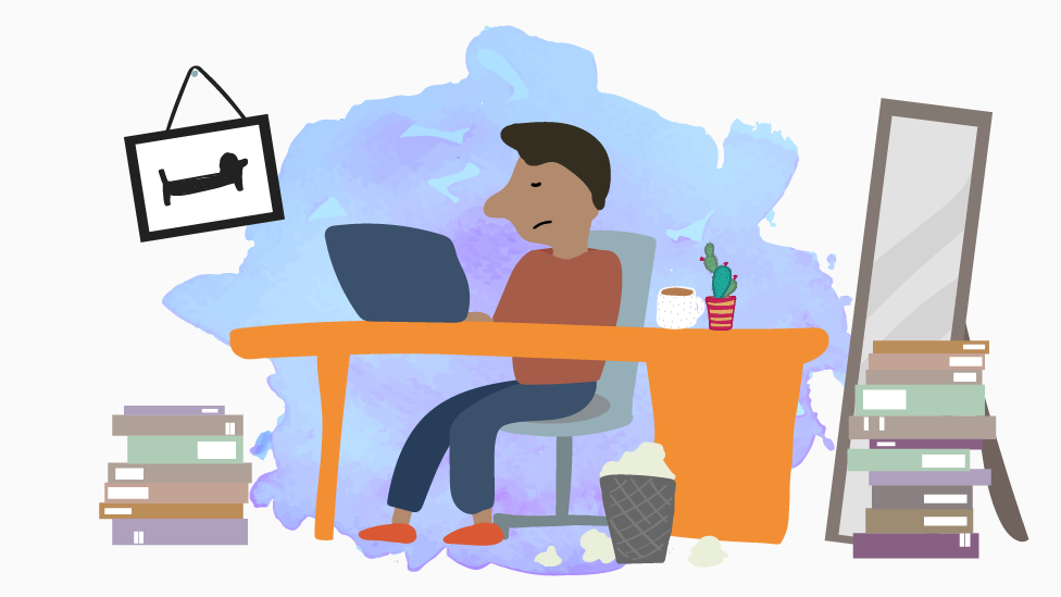 Illustration of working from home