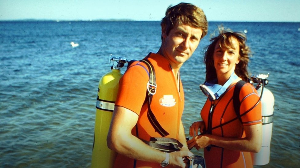 The Benchleys in a diving trip in the 1970s