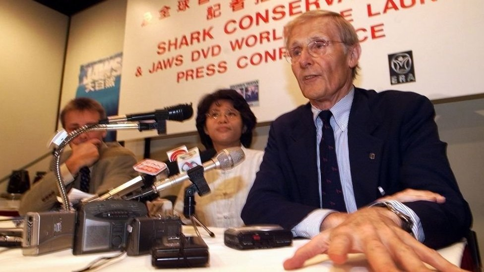 Peter Benchley in a press conference in Hong Kong