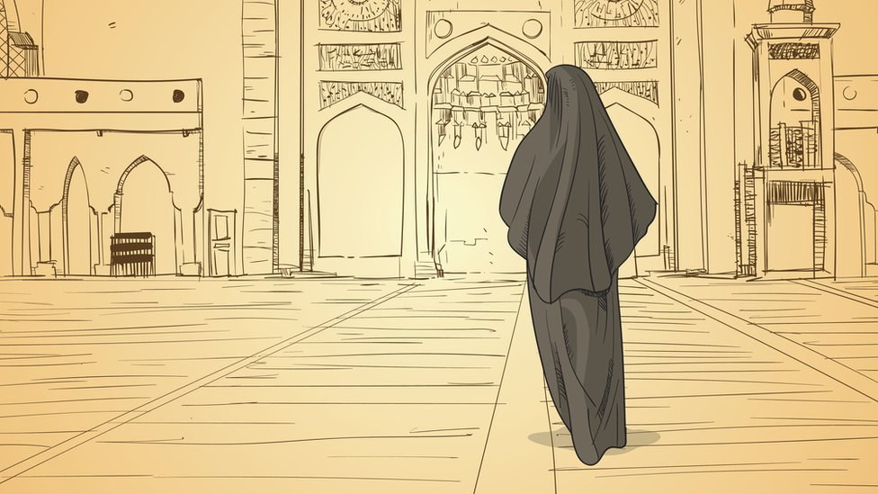 Illustration of a veiled woman in a Mosque