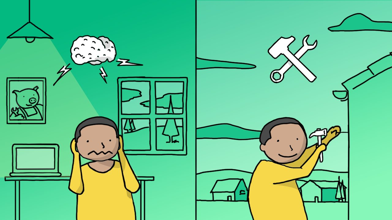 Illustration of stop over-thinking