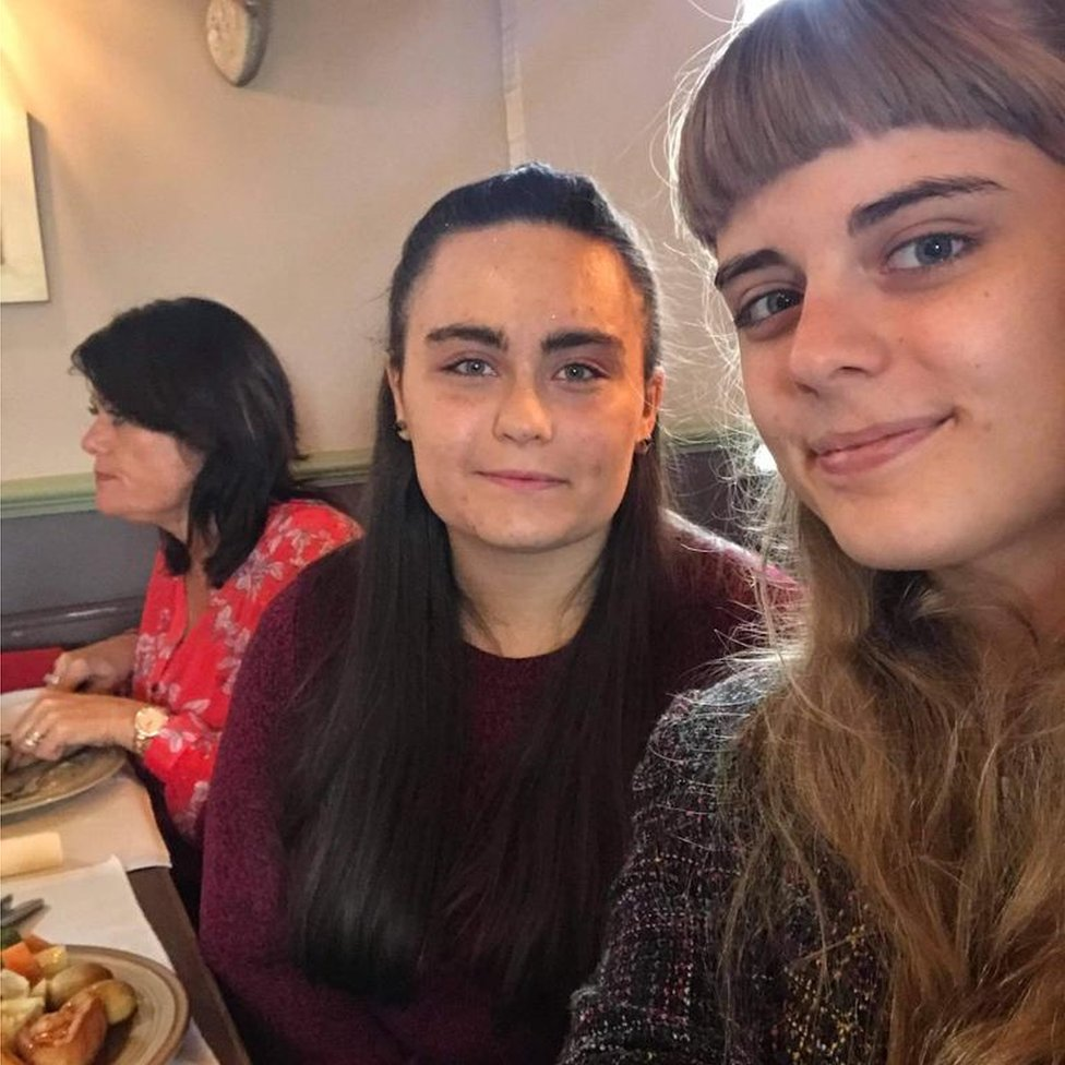 Kirstie (right) and Laura having a pub lunch on Laura's birthday - Laura was unable to eat her nut roast