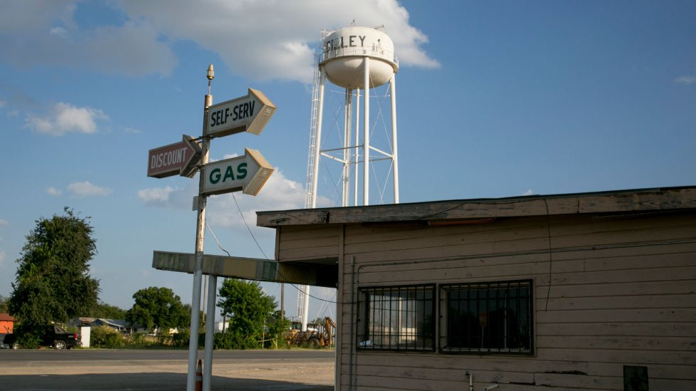 A water tank shows a sign for Dilley is in south Texas.