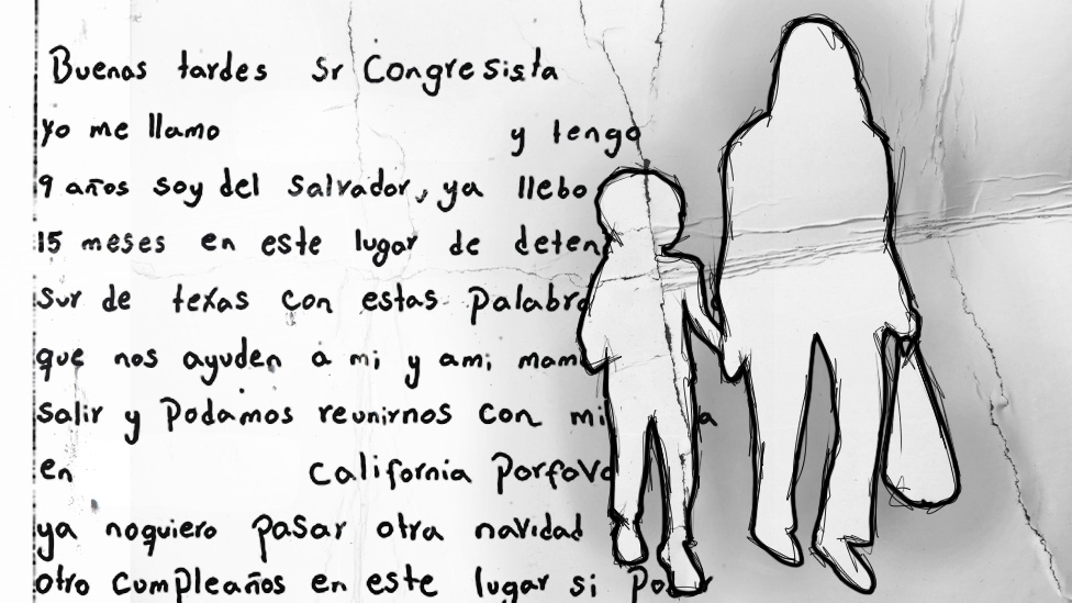 An illustration shows a letter written by Luisa next to a drawing of a woman holding a girl's hand.