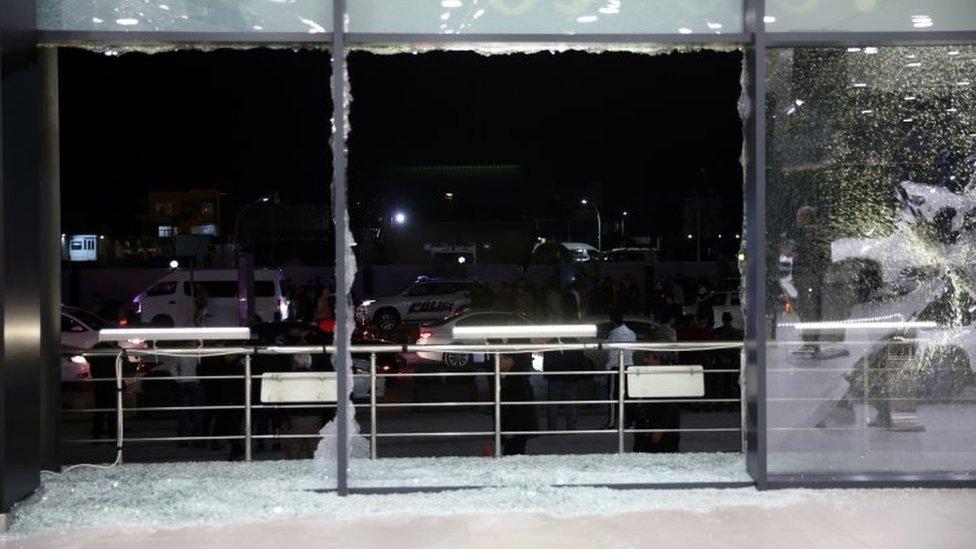 Shattered glass at Irbil airport, Iraq. Photo: 15 February 2021