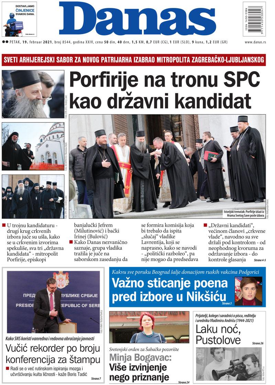 Naslovna za 19. februar 2021. 1