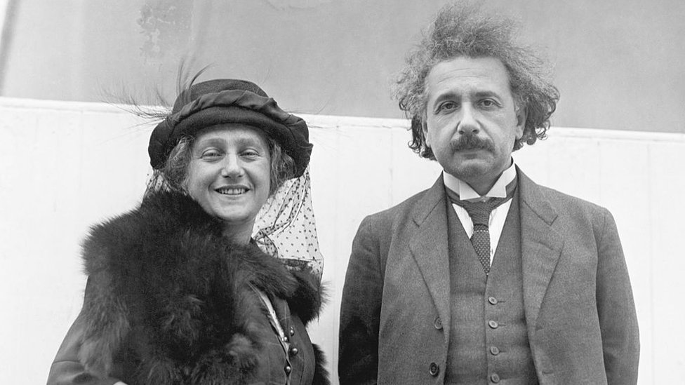 Albert Einstein and his second wife Elsa.