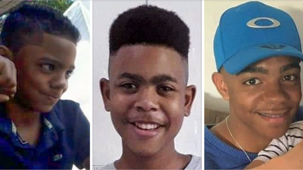 A composite image of three boys shot dead by Brazilian police