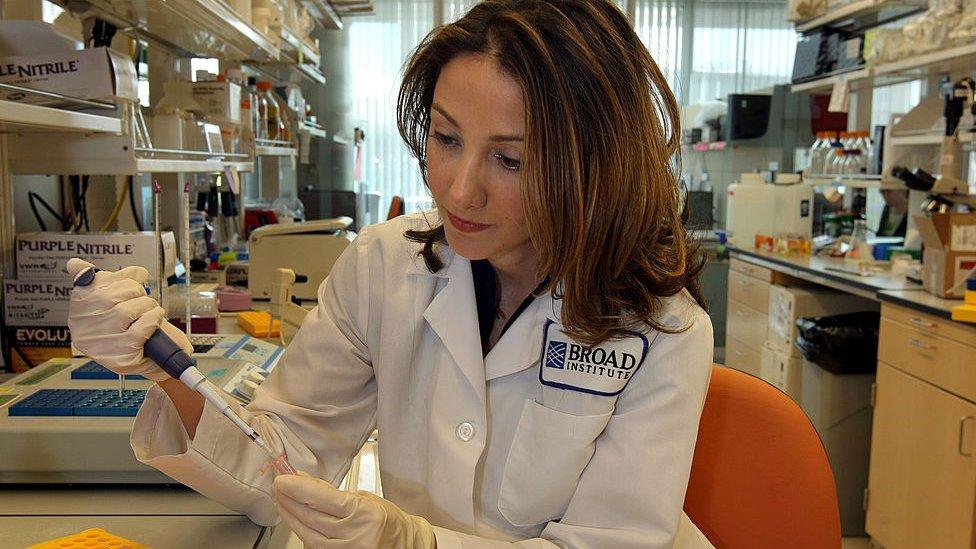 Dr Pardis Sabeti in the lab