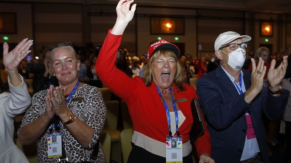 Supporters hear Donald Trump speak at the Conservative Political Action Conference in Orlando, February 28, 2021