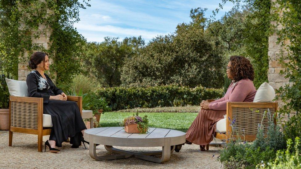 Meghan, Duchess of Sussex speaking to Oprah Winfrey