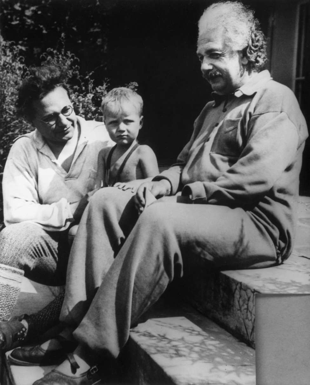 Black and white picture of Albert Einstein, his son Hans Albert, and his grandson Bernhard (1936).