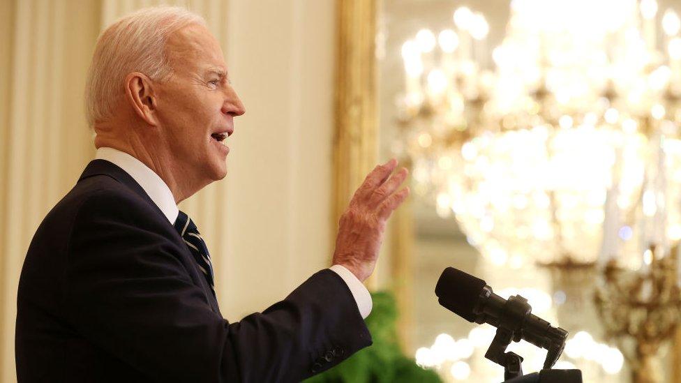 President Biden speaking at press conference
