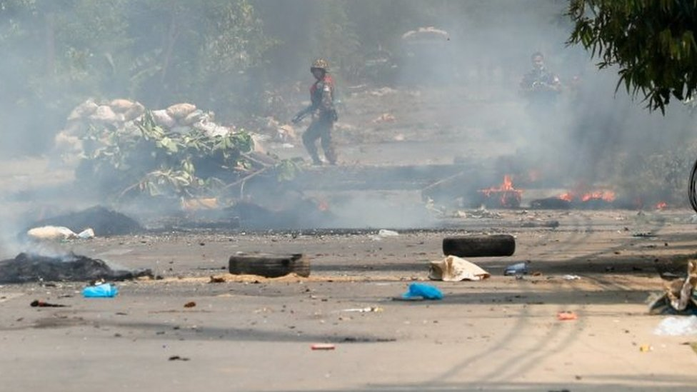 Security forces clash with protesters in Yangon