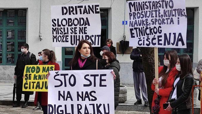 Protest studenata i profesora Fakulteta za crnogorski jezik na Cetinju, sprečen incident 4