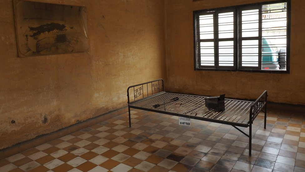 A bed used for torture in Tuol Sleng prison