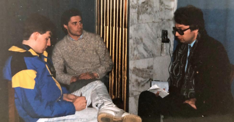 Jeff being interviewed by Nikolai Sivach, journalist with SMENA, in Leningrad