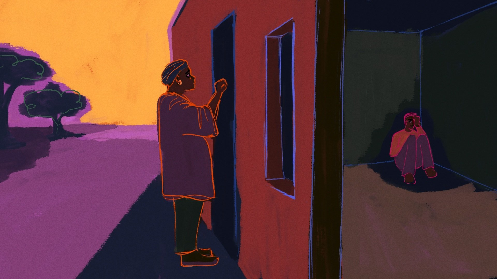 illustration of Thembi knocking on door