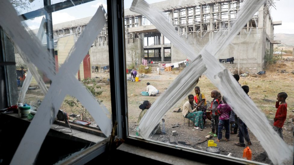 Displaced people are seen at the Shire campus of Aksum University, which was turned into a temporary shelter for people displaced by conflict, in the town of Shire, Tigray region, Ethiopia, March 15, 2021.