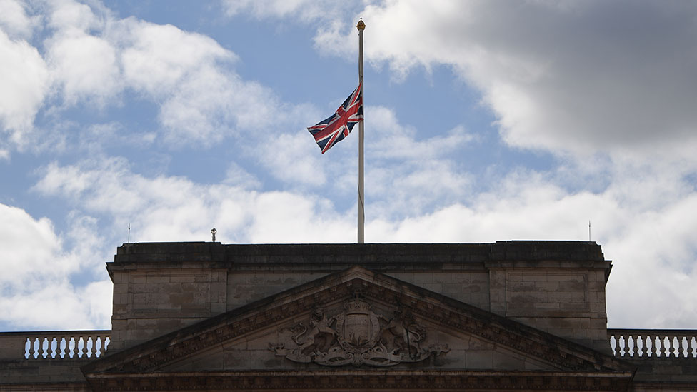 Flag is flown at half-mast above Buckingham Palace