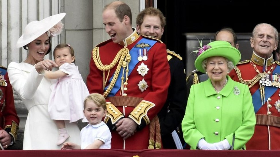 The Royal Family on the balcony of Buckingham Palace in 2016