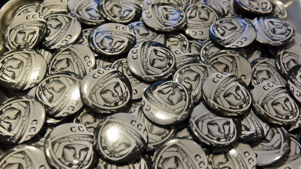 Badges featuring Yuri Gagarin
