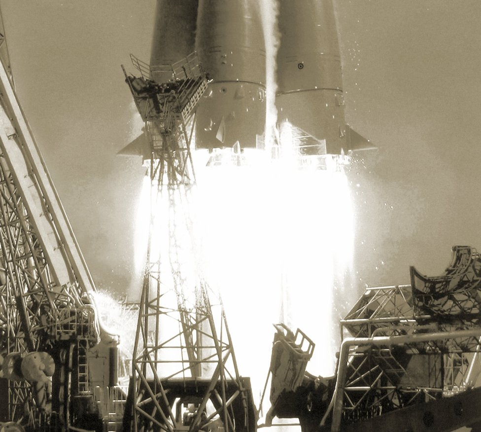 Close-up of the exhaust flames of the rocket launching Yuri Gagarin into orbit
