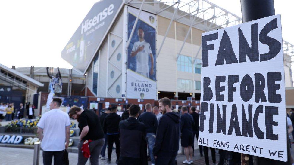 Protesters outside Elland Road stadium